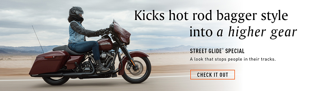 Kicks hot rod bagger style into a higher gear. Street Glide Special. A look that stops people in their tracks. Check it out.